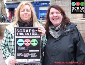 Renfrewshire Councillor Lorraine Cameron with Sandra Webster - Scrap Trident, Paisley